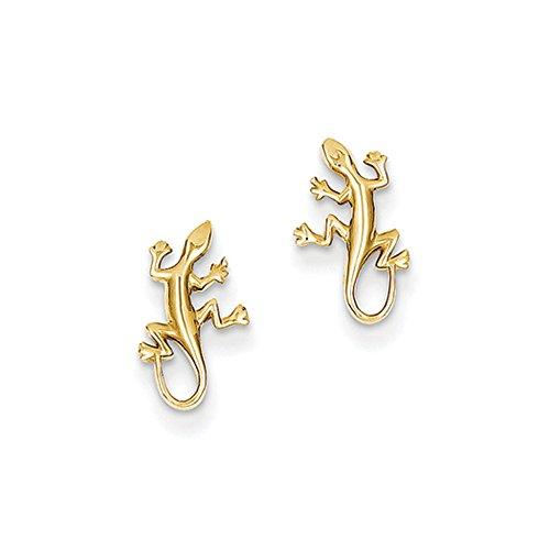 14k Gold Gecko - Mini Gecko Post Earrings in 14k Yellow Gold