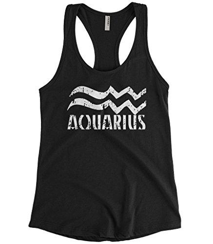 Cybertela Women's Distressed Aquarius Sign Racerback Tank Top (Black, Small) (Aquarius Tank)