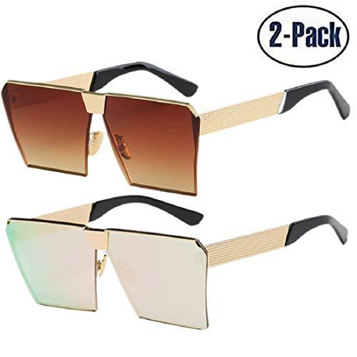 JOJO'S SECRET Oversized Square Sunglasses Metal Frame Flat Top Sunglasses JS009 (Gold/Brown+Gold/Cherry Powder, 2.48)