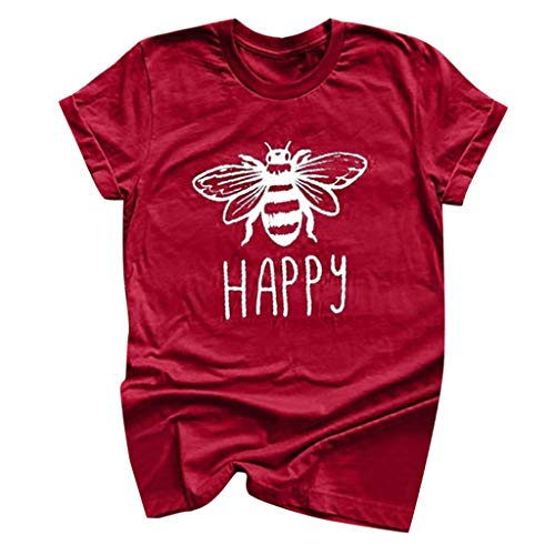 (Shusuen Bees Shirt Tees for Women Letter Print Environment Shirts Summer Casual Beekeeping Tops Red)