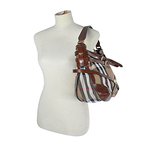 66ebcb253623 Burberry Bridle Housecheck Small Dutton Hobo Bag Dark Tan - Buy ...