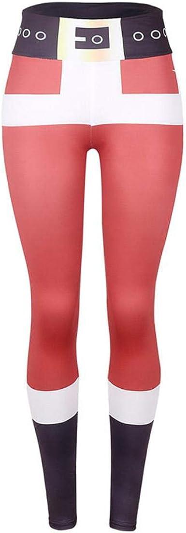 SHOBDW Pantalones Deportivos Mujeres Navidad Papá Noel Colorido Rojo Imprimir Deportes Gimnasio Yoga Correr Fitness Leggings Capri Pantalones de ...