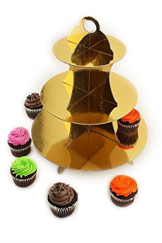 Ifavor123 Gold Cardboard Cupcake Dessert 3-Tier Display ()
