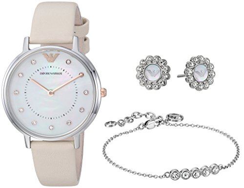 Emporio Armani Women's 'Kappa' Quartz and Stainless-Steel-Plated Casual Watch, Color:Beige (Model: AR80001)
