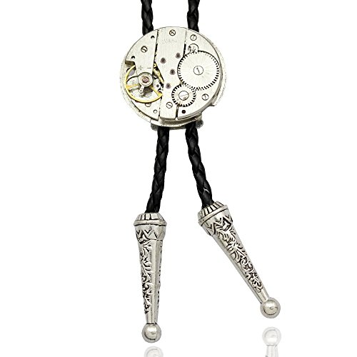 Q&Q Fashion Men Silver Watch Clock Movement Steampunk Western Necklace Bolo Bola Neck Tie from RechicGu