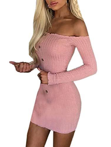 Primavera y Otoño Mujeres Mini Vestido de Suéter Sexy Apretado Paquete de Cadera Vestidos de Partido Fiesta Club Nocturna Moda Cuello Barco Manga Larga Vestido