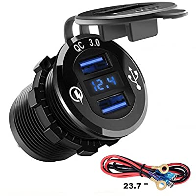 ROLOZ USB Dual Quick Charger Aluminum Waterproof with LED Digital Screen for Golf carts, UTV's, Marine, Boats, Motorcycles, Trucks, and More.: Sports & Outdoors
