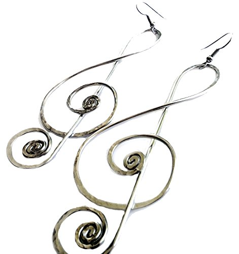Elaments Design Hand Hammered Earrings Long Treble Clef Design 4 Inch Dangle ()