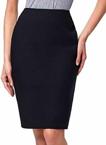 fbebf3d5eb Kate Kasin Women's Knee Length Pencil Skirts Slim Fit Business Skirt