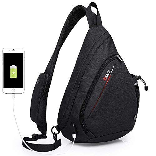 Sling Bag,Crossbody Backpack Chest Shoulder Backpack Waterproof Anti Theft Travel Daypack With USB Charging Port for Men Women