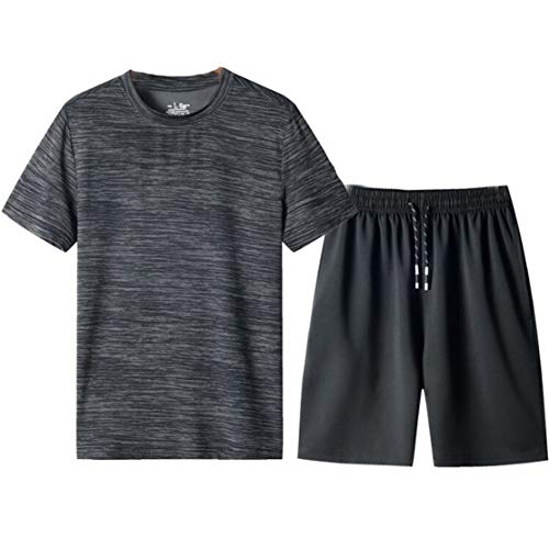 Mens Tracksuits Sets Sports Gym Fitness Clothing Set Quick Dry Large Size Jogging Running T-Shirt and Shorts Workout…