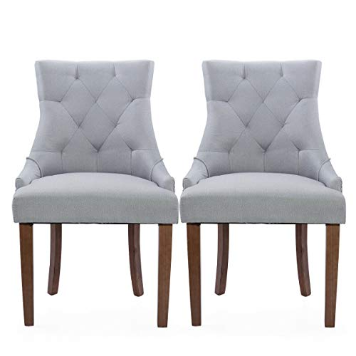 Cypress Shop Upholstered Chairs Button Fabric Tufted High Back Roll Top Accent Dining Chair Classic Style Side Chairs Nailhead Living Room Tray Color Home Furniture Set of 2 (Chair Tub Crushed Velvet)