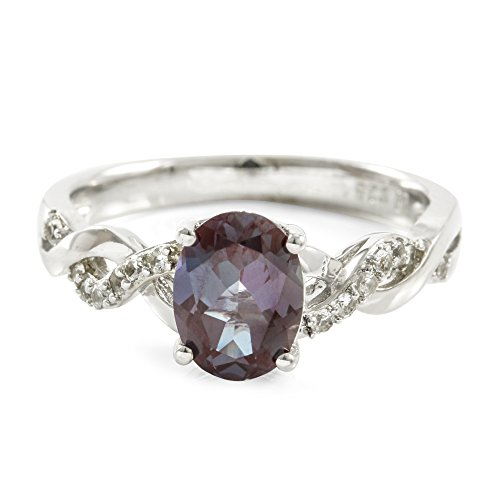 Alexandrite Sterling Silver Designer Ring (Glamouresq Sterling Silver 14k White Gold Plated Created Oval Alexandrite & Created White Sapphire Women's Ring, Size 7)