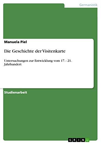 Amazon Com Die Geschichte Der Visitenkarte Untersuchungen