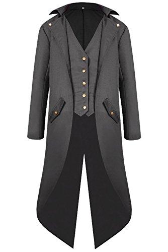 Hibuyer Men's Retro Punk Steampunk Tailcoat Jacket Tuxedo Gothic Trench Coat Halloween Costume (XL, Grey)