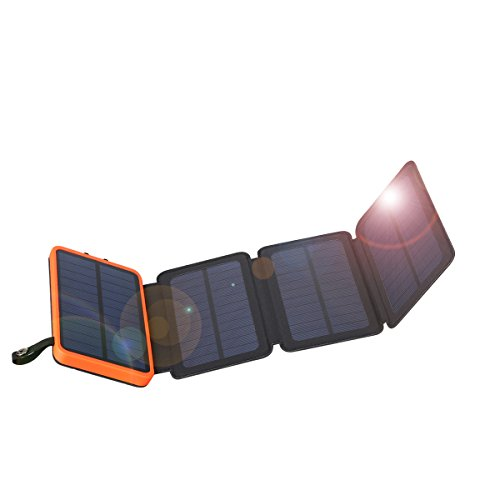 FLOUREON 10,000mAh Mobile Phone Power Bank 1+3PCS Solar Panel Chargers with Solar charging Auxiliary Function Dual USB 1.0A/2.1A Portable Mobile External Battery for iPhone, iPad, Samsung Galaxy and A by floureon