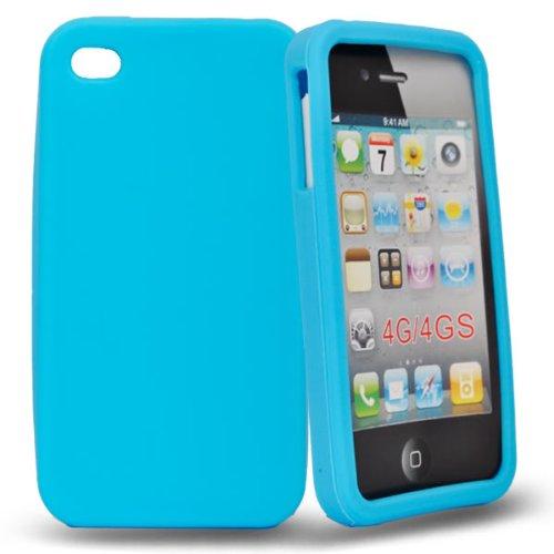 4/7 kaufhaus- Himmelblau silikon GEL schutz Hülle case cover tasche mit schutz folie für apple iphone 4s