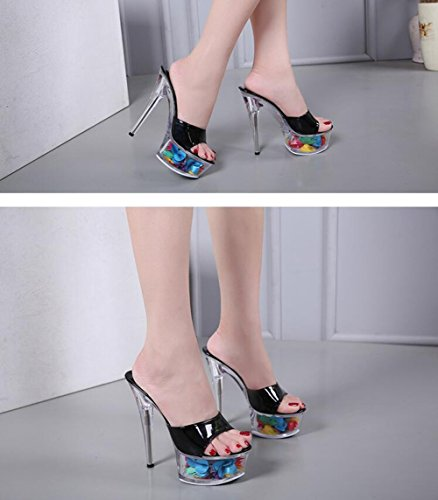Club Spring up Shoes Heel D Women's Summer Heel Heels Shoes New 37 Size 2018 Color Shoes Crystal Stiletto Crystal Platform Light Heel Sandals PVC Translucent IICqwYz
