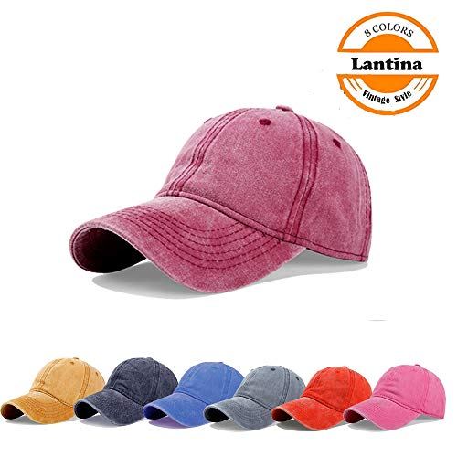 Lantina Unisex Men Women Adjustable Baseball Cap Pigment Dyed Curved Brim Distressed Hat with Ponytail Hole Hip Hop Style Flexfit Summer UV Sun Protection UPF30+ - One Size Fits All Red ()