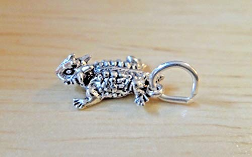 Detail Sterling Silver Charm - Pendant Jewelry Making Sterling Silver 3D Detail Small 13x9mm Texas Horned Toad Frog Charm!