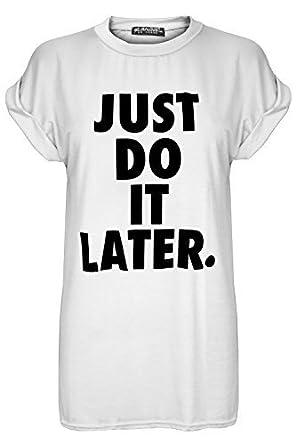 7542933145648 Womens Ladies Just Do It Later USA Varsity Baggy Oversized Short Turn Up  Cap Sleeve Tee T Shirt Top  Amazon.co.uk  Clothing