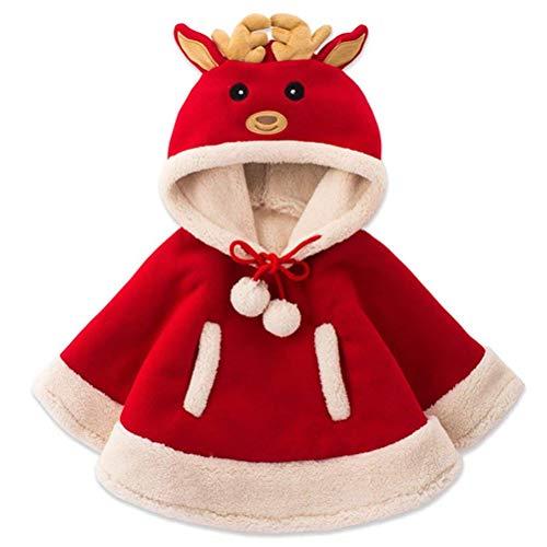 AOFITEE Kids Christmas Santa Cloak Cartoon Fleece Hoodie Cape with Reindeer Hat for 4-5 Year -