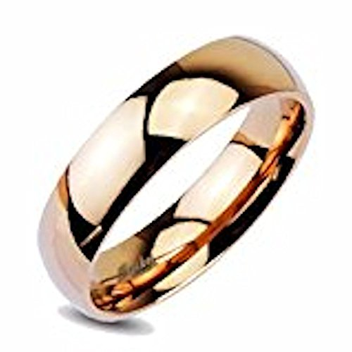 316L Stainless Steel 6mm Wide Mirror Polished Rose Gold IP Dome Band Ring Size 5 (Polished Wide Ring Band)