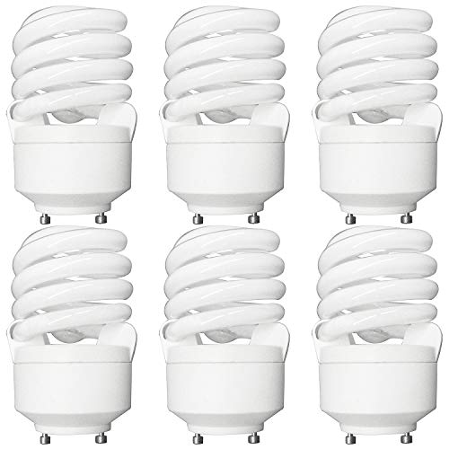 (Luxrite LR22310 (6-Pack) CF20 20-Watt CFL T2 Spiral Bulb, Equivalent To 75W Incandescent, Warm White 2700K, 1300 Lumens, GU24 Bi-Pin Base)