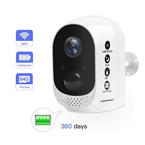 SMONET ?2019 New? 1080P Wireless Rechargeable Battery Camera, Battery Powered Camera Outdoor&Indoor,10400mAh High Capacity for Home Security Camera,PIR Motion Sensor,Night Vision,2-Way Audio,Free APP