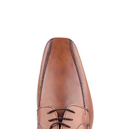 Base London Mens Lytham Excel Lace Up Leather Oxford Darby Dress Shoes Tan waxy