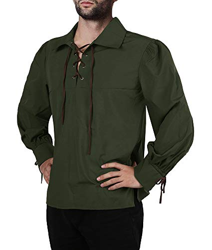 (Karlywindow Men's Medieval Pirate Lace Up Stand Collar Wide Cuff Costume Shirt Tops Army Green)