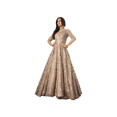 (AMIT FASHIONS Exclusive Indian Designer Semi Stitch Salwar Suit for Women's Silver)