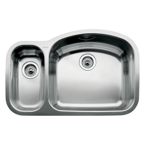 Blanco 510-880R Wave 1 1/2 Reverse Bowl Undermount Sink, Satin Polished (1 1/2 Bowl Undermount Sink)