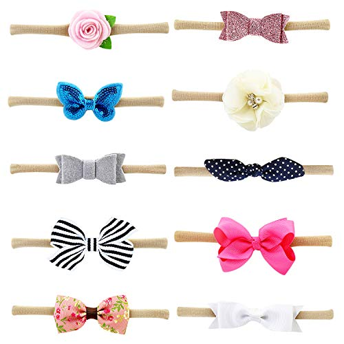 10 PCS Headbands with Bows/Flowers for Newborn Infants Baby Girls Toddlers Kids