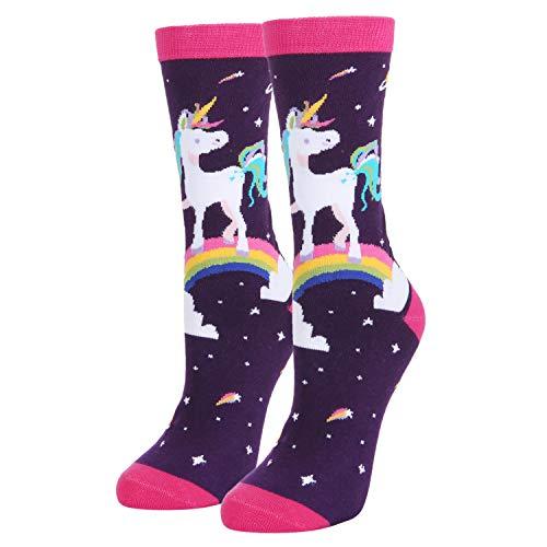 Womens Novelty Crazy Rainbow Unicorn Crew Socks Funny Colorful Space Solar System Socks in Purple