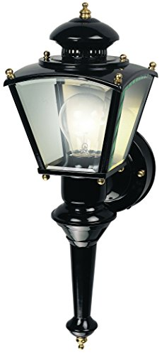 Heath HZ-4150-BK Zenith Motion-Activated Four-Sided Coach Light, Black Brass (Detector With Motion Lantern)