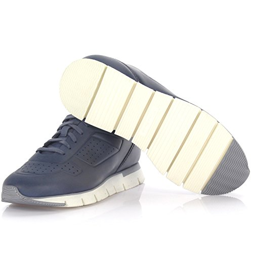 Santoni Sneakers 20015 Leder Blau Perforiert