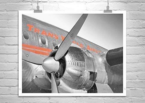 (TWA Airplane Art, Aviation Art, Gift for Pilots, Airplane Photo, TWA Constellation)