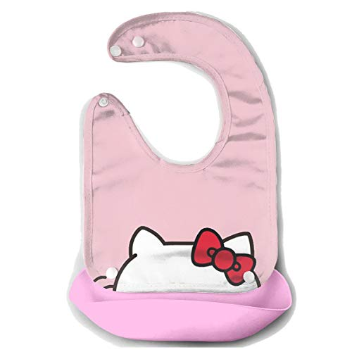Baby Bib Hello Kitty Waterproof Feeding Bibs for Babies and Toddlers with Food Catcher Pocket Pink ()