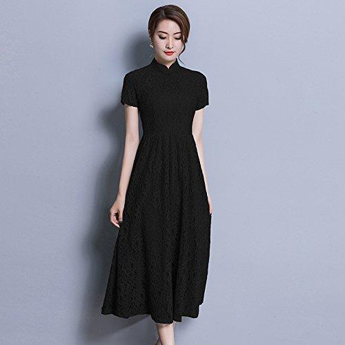 Largo Size ZHUDJ Slim Tamaño Mujeres Slim Las Vestido Encaje De Niña Gran black Vestido wXqXgrx7