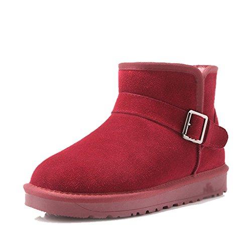 Hiver En Taille Courtes Rouge Vin Neige couleur Noir Warmest Coton De D'hiver Femme 39 Womens Bottines Bottes Chaussures wqvXpX