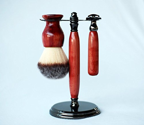 Red cedar shave set in gunmetal, safety razor, shave brush and matching brush and razor stand. by CreationsByWill