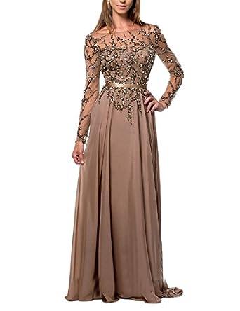 Amazon.com: OYISHA Womens Long Prom Dress Beaded Long ...