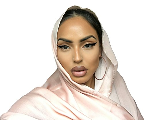 Covered Bliss Amli PREMIUM SILK Full Head & Neck Crinkle Chiffon Scarf - Best Lightweight Ladies Wrap Traditional Vintage Indian Shawl, Beautiful Hair Turban Scarves (Rose Gold)