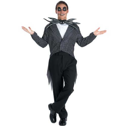 Burton Costumes Jack (Disguise Men's Tim Burton's The Nightmare Before Christmas Jack Skellington Classic Costume, Black/White,)