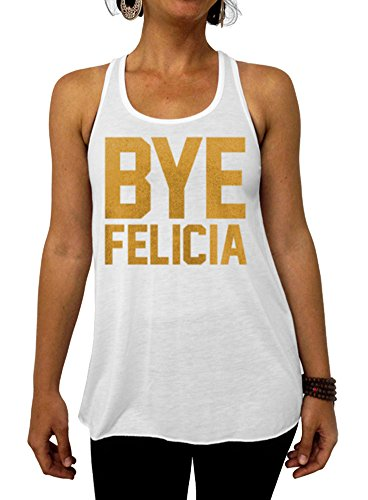 Dentz Design Bye Felicia Flowy Tank Top - Small White Gold - Felicia Gold