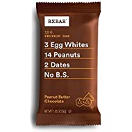 RXBAR Real Food Protein Bar, Peanut Butter Chocolate, Gluten Free, 1.83oz Bars, 12 Count