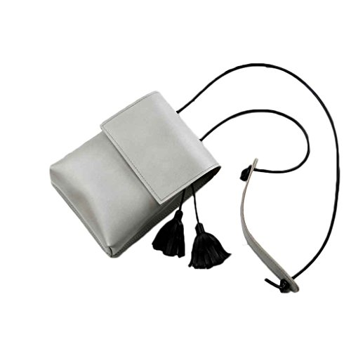 Topker Bolso del teléfono de cuero de la PU de la borla de las mujeres mini bolsos de hombro Bolso del teléfono móvil Bolso de mensajero de las señoras pequeño Gery Ligero
