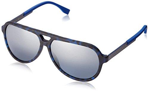 BOSS by Hugo Boss Men's B0731S Aviator Sunglasses, Black Havana/Carbon/Smoke