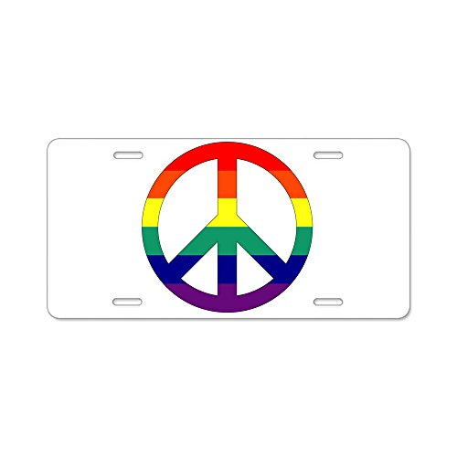 Aluminum License Plate Rainbow Peace Symbol Sign